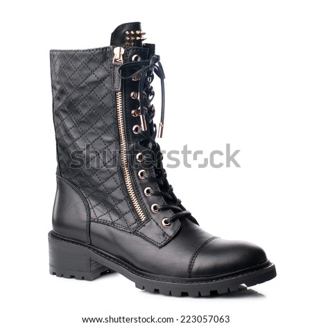 Black  women boot  isolated on white background.