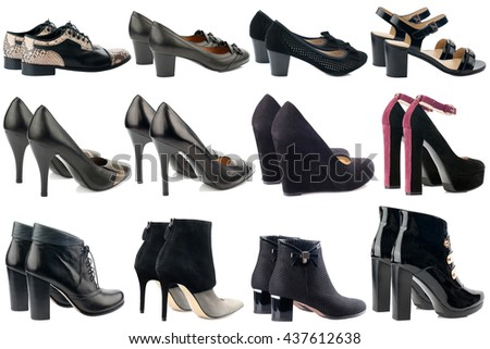Black women shoes collection isolated on white background.