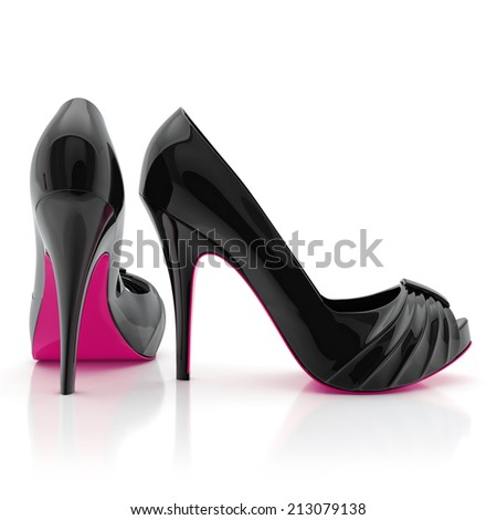 black women stiletto high heel shoes isolated on white background - stock photo