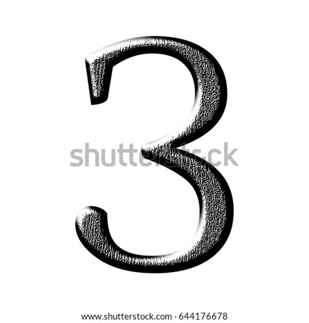 Black wood grain textured number three 3 in a 3D illustration with a shiny rough dark wooden texture surface in a classic alphabet font style isolated on a white background .