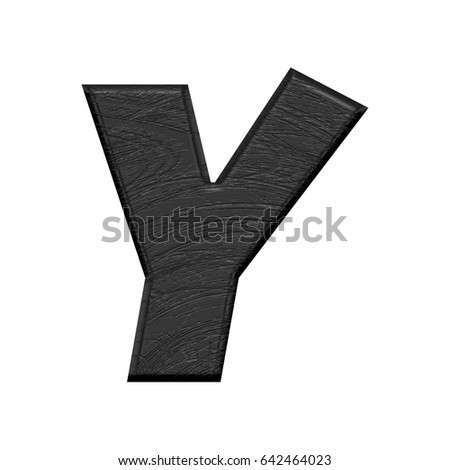 Black wood grain textured uppercase or capital letter Y in a 3D illustration in a basic bold style with a wooden surface style isolated on a white background with a clipping path.