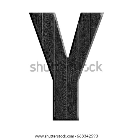 Black wood grain textured uppercase or capital letter Y in a 3D illustration with a dark rough wooden texture surface style and bold font isolated on a white background with clipping path.