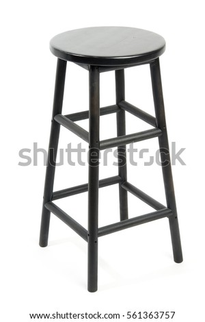 Black wooden bar stool isolated on white background