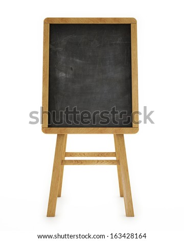 black wooden restaurant board, isolated on white background - stock photo