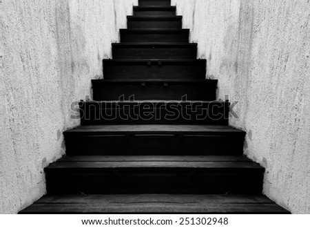 black wooden stair - stock photo
