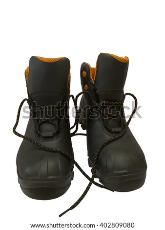 Black work boots isolated on white background  - stock photo