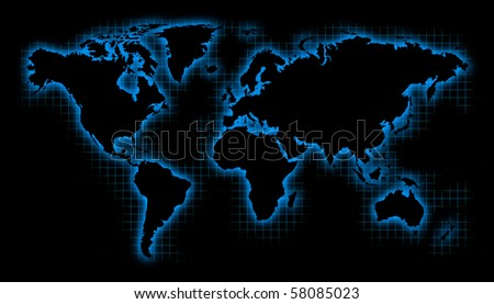 Black world map blue edge stock illustration 58085023 shutterstock black world map with blue edge gumiabroncs Choice Image