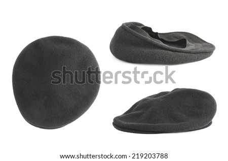 Black woven beret flat-crowned hat isolated over the white background, set of three foreshortenings - stock photo