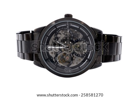 black wristwatch on a white background - stock photo