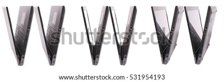 Black www laptop on white background with soft shadow. Six clipping path inside