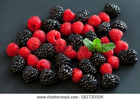 Blackberries and raspberries - stock photo