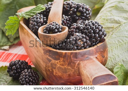 Blackberries in a decorative pot