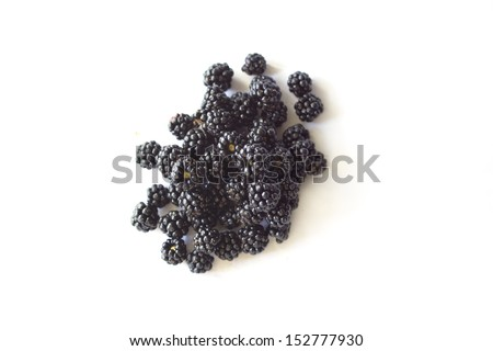 Blackberries isolated on white. Top view - stock photo