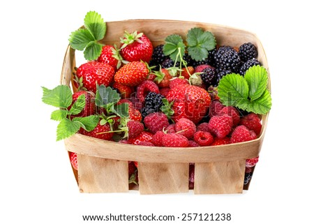 blackberries strawberries in a basket Isolated on white background - stock photo