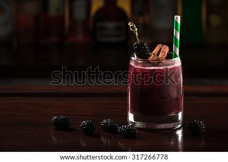 blackberry cocktail - stock photo