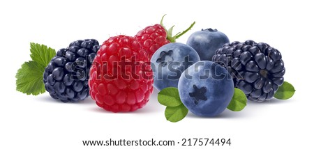 Blackberry, raspberry, blueberry and leaves isolated on white background as package design element