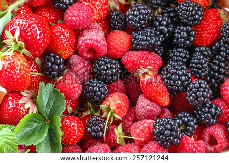 blackberry strawberry berries background closeup - stock photo