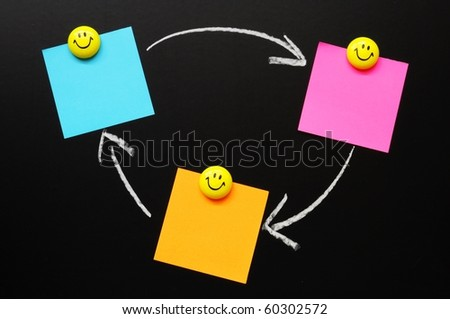blackboard and paper with copyspace for your text message - stock photo