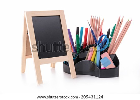 blackboard and supplies