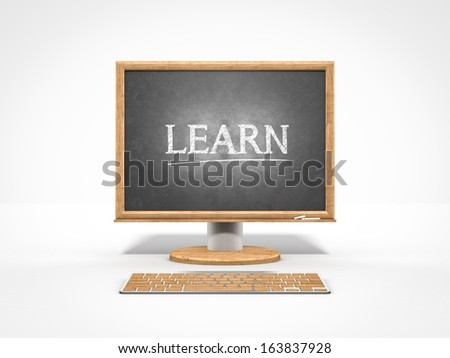 blackboard as a computer monitor icon Study technology - stock photo