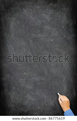 Blackboard / chalkboard. Black and vertical with hand writing with white chalk. Great texture with copy space.