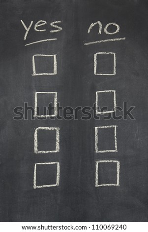 blackboard  / chalkboard with yes no written across the top and two columns of check boxes