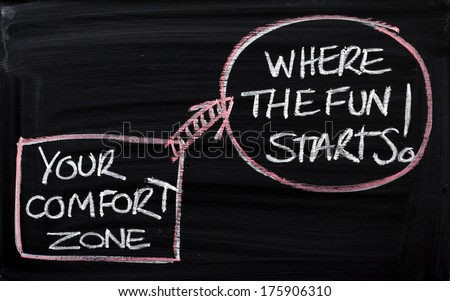 Blackboard concept for leaving your comfort zone behind and moving to where the fun starts - stock photo