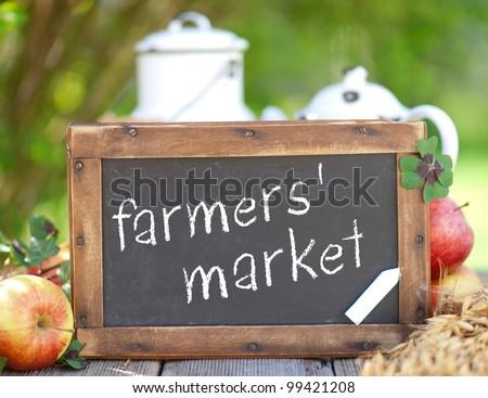Blackboard, farmers' market - stock photo