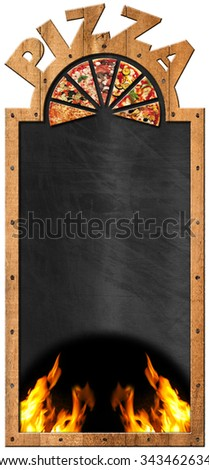 Blackboard for Pizza Menu / Empty blackboard with wooden frame and text Pizza, flames and slices of pizza. Template for a pizza menu isolated on white - stock photo