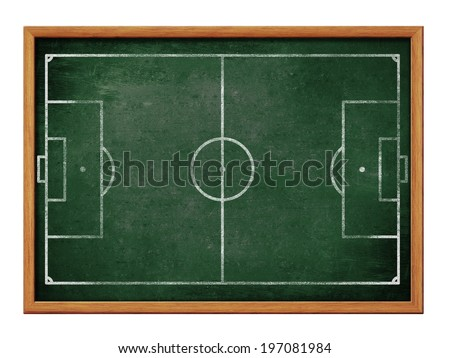 Blackboard for soccer team formation drawing. Football field or pitch plan on green chalkboard. - stock photo
