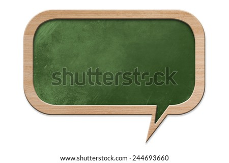 Blackboard in speech bubble shape with wooden frame, isolated on white background - stock photo