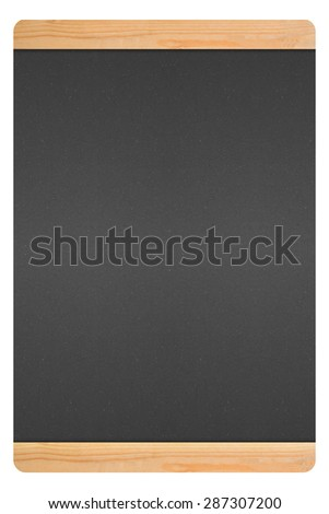 blackboard in wooden frame with black on white background