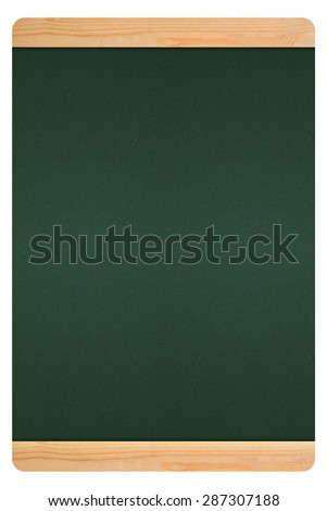 blackboard in wooden frame with green on white background