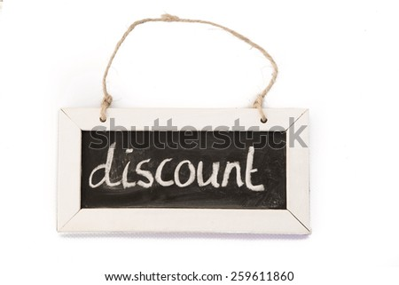 blackboard on rope 'discount' - stock photo