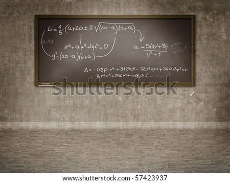 Blackboard on wall with mathematics calculation
