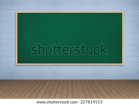 Blackboard on white concrete wall texture and wooden floor.