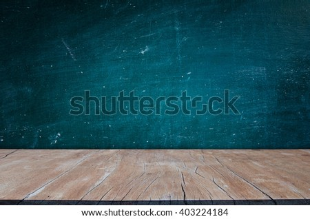 blackboard texture with Wood table top - stock photo