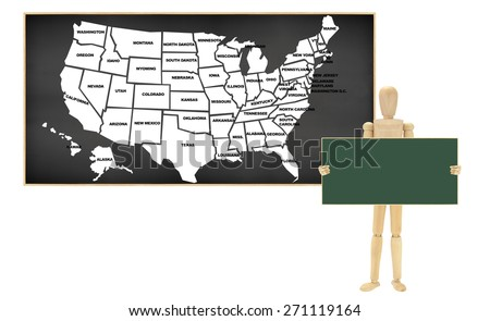 Chalkboard Usa Map Wood Mannequin Holding Stock Photo - Us map chalkboard