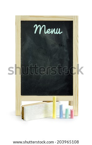blackboard used as menu ,isolated on white Clipping path - stock photo