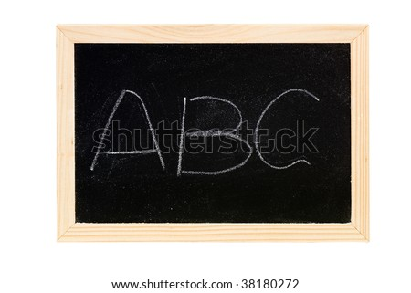"Blackboard was writing white words of ""ABC""."