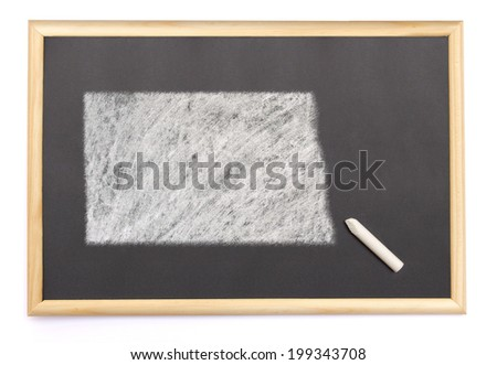 Blackboard with a chalk and the shape of North Dakota drawn onto. (series) - stock photo