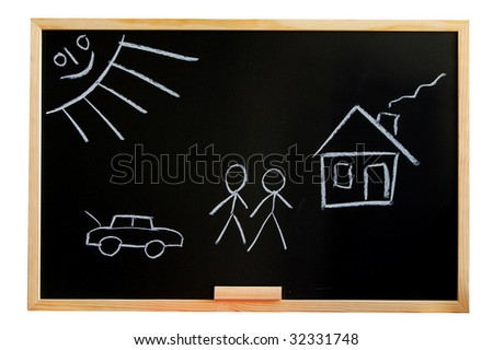 blackboard with a drowing of a house and a familie - stock photo