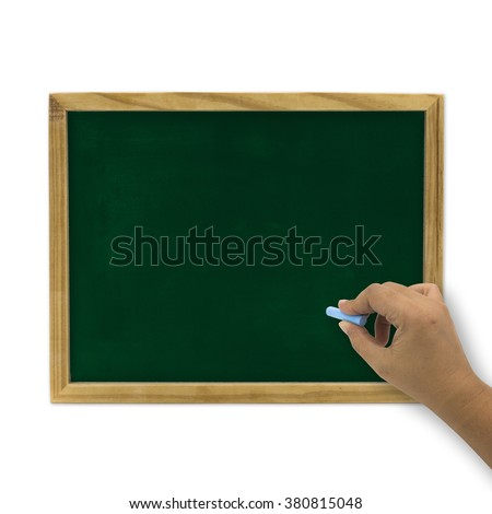 Blackboard with a hand writing