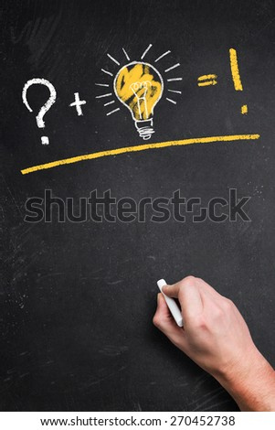 blackboard with a idea equation - stock photo