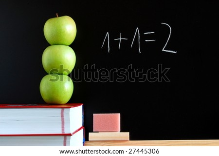 blackboard with apples and books showing a concept for education