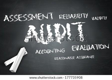Blackboard with Audit wording - stock photo