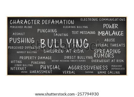 Blackboard with Bullying Children At Risk: Power Imbalance, Pushing, Cyber Bullying, Assault, Harassment, Hitting, Verbal Abuse, Property Damage, Spreading Rumors, Aggressiveness - stock photo