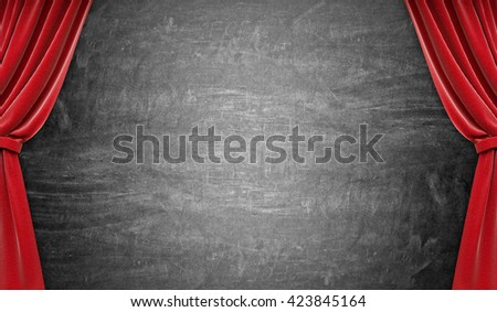 Blackboard with curtains. 3d rendering - stock photo