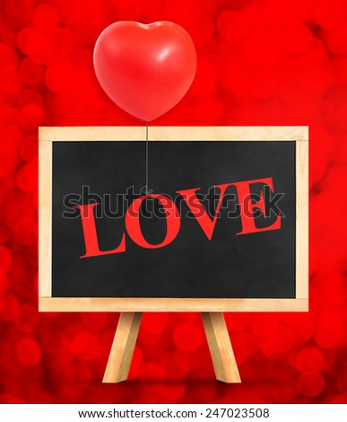 Blackboard with Happy Valentines Day word at red bokeh light background,Love concept - stock photo