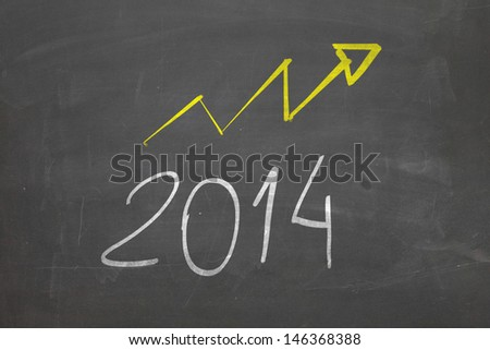 Blackboard with Optimistic about 2014